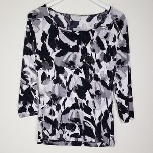 Chico's EasyWear Black White Floral Top